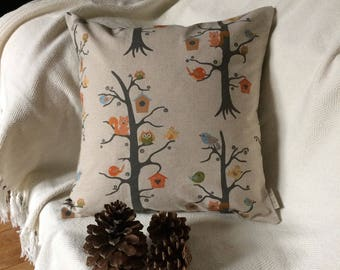 """Pillow cover 40x40cm (16""""x16""""), Halloween Owls, Happy Owls Cushion, Fall decoration, Home decoration, Birds in handmade, Christmas Gift"""