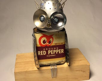 Red the Owl - Assemblage Art Owl Robot Sculpture