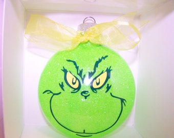 Grinch Christmas  Glass Ornament