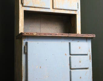 Antique Miniature Hutch Cupboard Childs Wooden Wood Primitive Cabinet Small Blue Chippy Paint Cabinet with Drawers Americana Vintage Country