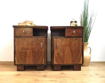 Pair Vintage Nightstand Mid Century Rustic Furniture Walnut Wood End Side Bedside Table Vanity Wooden Cabinet Night Stand Chest of Drawers