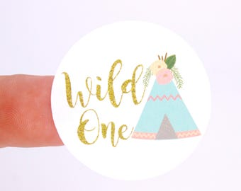 Wild One Sticker | Teepee Sticker | Wild One Goody Bag Sticker | Wild One Envelope Seal | Wild One Treat Bag Sticker | Boho Themed Sticker