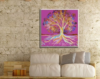 Pink Canvas Art, Pink Painting, Pink Tree, Large Tree Art, Large Painting, Large Wall Decor, Original Painting, Large Art, Pink Artwork