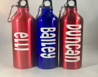 Personalized Aluminum Water Bottle, 20 oz. ,Name, Kids Gifts, Christmas Gifts, Holiday Gifts, Favors, Sports, BPA Free, Various Colors