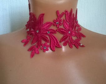 lace necklace bridal wedding lace Hot Pink Rhinestone silver ceremonial holiday party crew neck