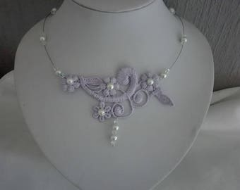 Wedding lace, Ivory Pearl bridal necklace / Parma violet clear bicone Czech evening holiday ceremonies