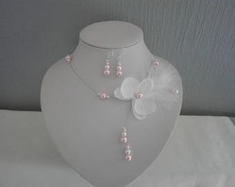 Bridal set wedding necklace jewelry set earrings Silver 925 beads feather Orchid in white linen / pink or ivory / pink