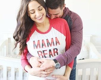 Mama Bear, Papa Bear, Bear family, buffalo plaid, Mama Bear Shirt, black raglan, Mama Shirt, Mama and Me shirt, Dad and Me, New Parents gift