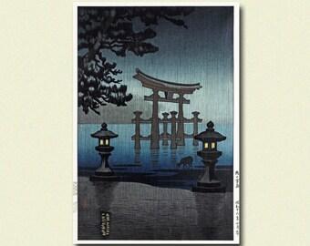 Get 1 Free Print - Miyajima in the Rain 1941 - Tsuchiya Koitsu Poster Ukiyoe Print Edo Period Japanese Poster Japanese Print Koitsu