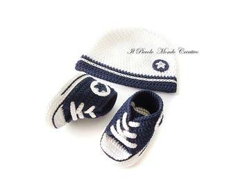 Crochet Baby Outfit, Baby Set; Crochet Baby Set; Baby Hat Baby Converse