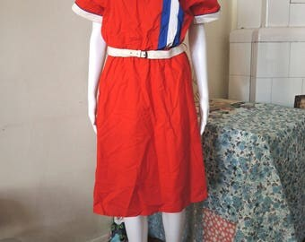 Vintage red belted midi dress with vertical stripes 1980s