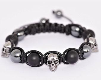 Stainless steel skull head/Hematite/black Agate gemstone bracelet, skull