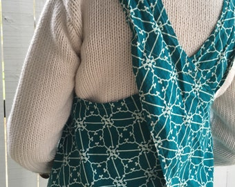 Teal Japanese Apron made in USA/ready to ship