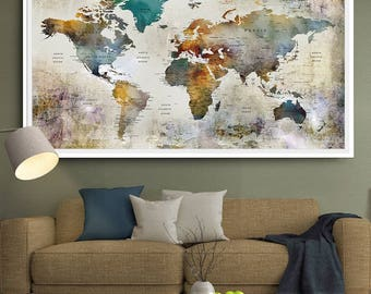 Detailed world map etsy large watercolor world map print world map wall art detailed print push pin world gumiabroncs Image collections