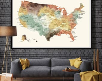 Us Travel Map Etsy - Large us wall map