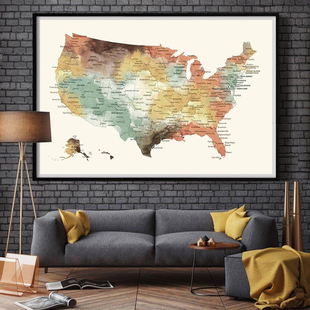 US Map Push Pin Wall Art Poster Print USA States MAP Large