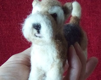 Needle felted fox terrier miniature
