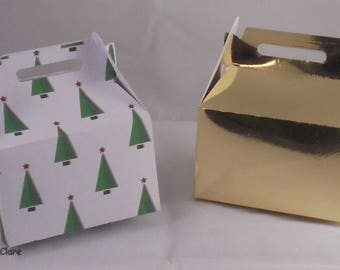 Mini Lunch Box Favor Boxes - Christmas Favor Boxes - Sweets - Candy - Treat - Snowflakes - Holly - Christmas Trees - Favor Box - Baubles