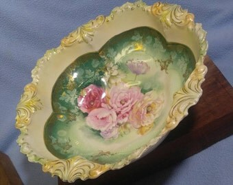 """Antique RS Prussia 10.5"""" Bowl~ Pink Roses"""