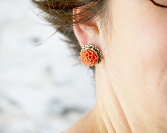 Dahlia Flower Studs - Colorful Earrings - Fall Earrings - Best Friend Gift Ideas - Christmas Gift Ideas for Mom - Secret Santa