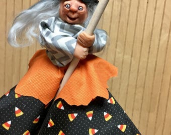 Happy the handmade Halloween witch doll