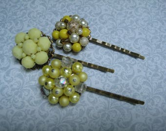vintage hair pins, bobby pins, bobbies, grips slides, set of 3, yellow, bridesmaids, recycled upcycled, repurposed reclaimed, ooak /hp148