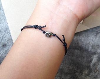 super tiny elephant cord bracelet/anklet, charm elephant bracelet/anklet, cute gift for friends, lucky bracelet.