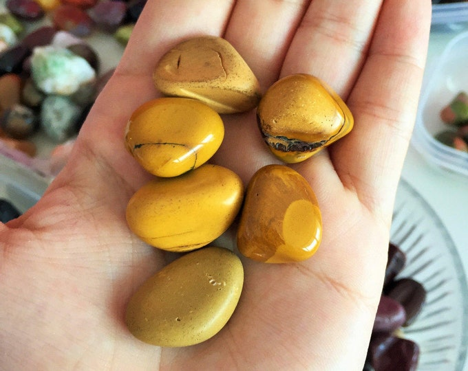 Yellow Mookaite Jasper Crystals, Small Healing Stones infused w/ Reiki