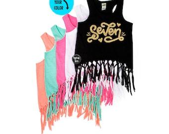 Glitter SEVEN - Fringe Tank Top - Glitter Seven - 7th Birthday Shirt - Birthday Girl - Birthday Tank Top - SEVEN - Girls' Clothing