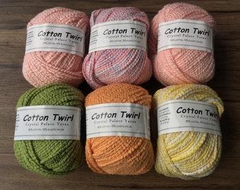 COTTON TWIRL 5.99 +1.25ea to Ship - Stretch Nubby Cotton Yarn. Misty Rose-Pink Multi-Green-Orange-Yellow Multi + 5 Free Patterns. MSRP 6.50