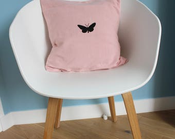Pillow cover pink black Butterfly - home decor - unique and original - standard size