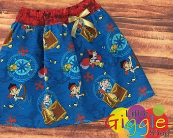 Jake and the Neverland Pirates, Jake and the Neverland Pirates Birthday, Pirate Birthday, Jake Skirt, Pirate Skirt, Pirate Party, Handmade