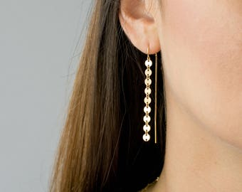 Gold Coin Threader Earrings, Long Dangle Earrings, Minimalist Earrings, Sterling Silver, 14k Gold Fill, Gift for Her, LEILAJewelryshop, E209