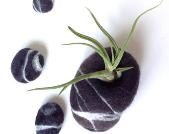 Felted wool rock-shaped vase. Ideal for a tillandsia (air plant). Sold with a glass vase for your flowers. Flower vase. Felted stone.