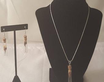 Flower Bottle Necklace Jewelry Set - Flower Necklace - Flower Earrings - Yellow Flower Necklace - Yellow Flower Earrings -Floral Jewelry Set