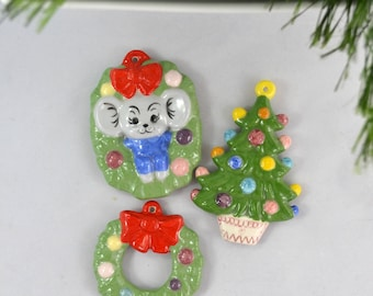 Vintage Hand Painted Porcelain Wreath And Tree Christmas Ornaments