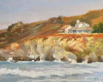 California Coastline Painting, California Landscape, Northern California, Oil Painting, Original Paintings,  Sue Whitney 9x12  Oil on Canvas