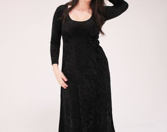 Black Velvet 90s Dress - Long, Maxi, Velour, Grunge, Goth, The Craft, 1990s, Crushed Velvet