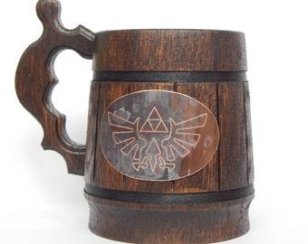 Legend of Zelda Beer Mug Zelda mug TRIFORCE Ornament Sword gift cup Zelda tankard Hyrule Crest Game LoZ Fan Geekery gift Gift idea for gamer