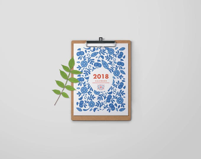 2018 Calendar, Printable, Digital Download, 8.5x11, Letter Sized, Nordic, Floral, Modern