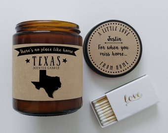Texas Scented Candle Missing Home Homesick Gift Moving Gift New Home Gift No Place Like Home State Candle Miss You Gift Mothers Day Gift