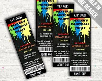 Paintball Invitations. Editable PDF. Printable. Instant Download.