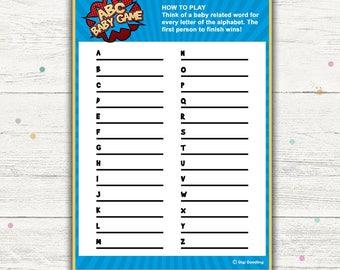 Superhero Baby Shower Games, ABC Baby Game Printable