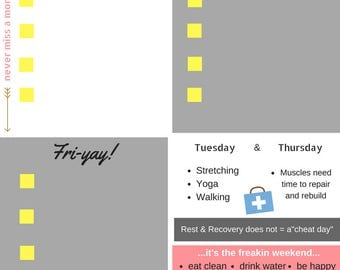 Weekly work out planner and tracker, instant digital download