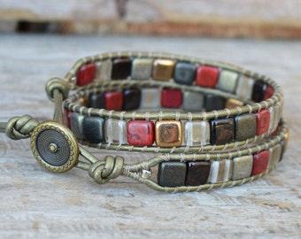 Wrap Bracelet, Beaded Wrap Bracelet, Double Wrap Bracelet, Tile Bead Bracelet, Tile Beaded Bracelet, Leather Wrap Bracelet