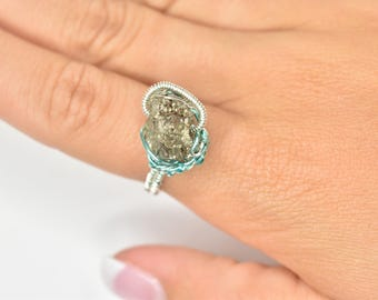 Wire Wrapped Two-Toned Pyrite Ring