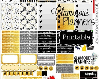 Regular Gold Girl Glam Happy Planner Modern Fashionista Chic Planner Stickers ECLP Life Planner 20 Stickers Printable Happy Planner Print