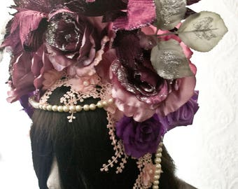 Flower fantasy  gothic headpiece  -flower headpiece-gothic headpiece-Wgt-headpiece-One of a kind-Ready to ship