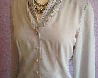Pin Tuck Shawl Neckline Blouse in Light Grey by St Michael. 1980s do 1940s