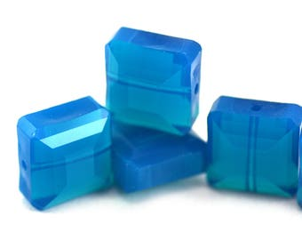 Luminous Caribbean Opal Blue Crystal Square Beads 13x13mm - Four (4) Pieces